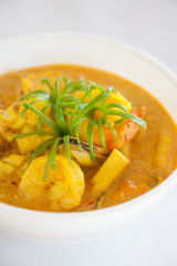 Thai food, yellow curry with prawn
