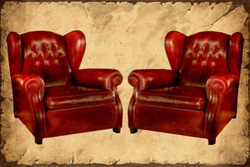 Papiers peints Affiche vintage Retroplakat - Rote Ledersessel