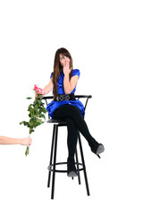 young girl reject presented flowers