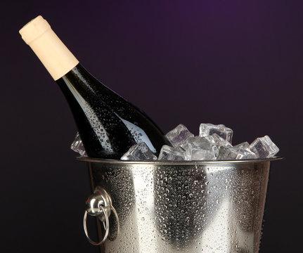 Bottle of wine in ice bucket on darck purple background