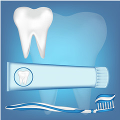 tooth,  toothbrush,  toothpaste. mesh illustration