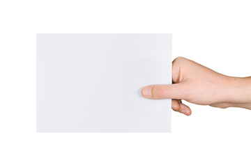Paper card in hand