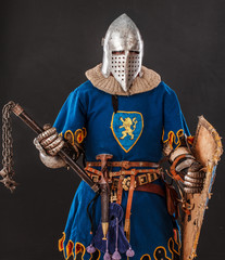 Aluminium Prints Knights Brave knight in blue with a lion in his form is ready to fight