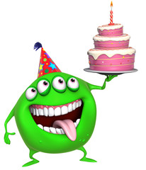 3d cartoon green birthday monster with cake