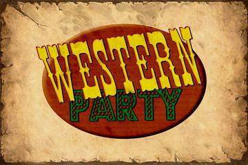 Fond de hotte en verre imprimé Affiche vintage Retroplakat - Westernparty