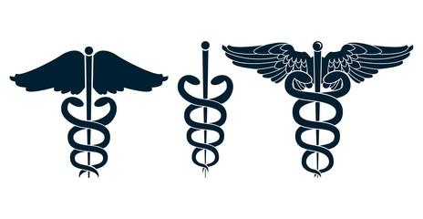Set of medical caduceus