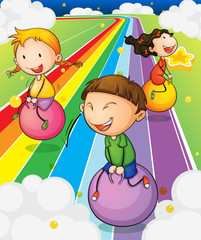 Door stickers Rainbow Three kids playing with the bouncing balls at the colorful road