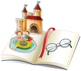 Keuken foto achterwand Kasteel A book with a castle and a reading glasses