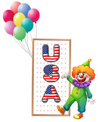 A clown beside the framed USA letters