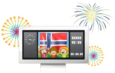 Three kids inside the scoreboard with the flag of Norway