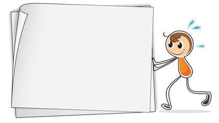 A boy pushing a big blank paper