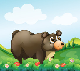 In de dag Beren A big brown bear in the garden