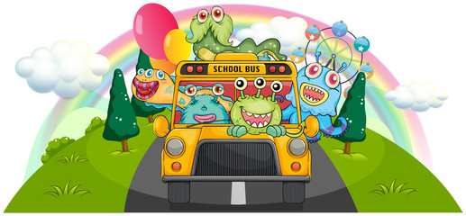 A yellow school bus with the scary monsters
