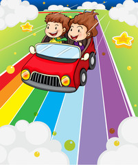 Door stickers Rainbow Two kids riding in a red car
