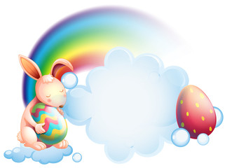 A bunny holding an egg while sleeping in front of a rainbow