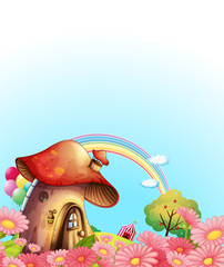 Deurstickers Magische wereld A mushroom house above the hill with a garden