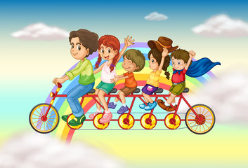 Door stickers Rainbow A family bike with a group of people riding
