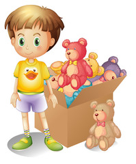 Acrylic Prints Bears A boy beside a box of toys