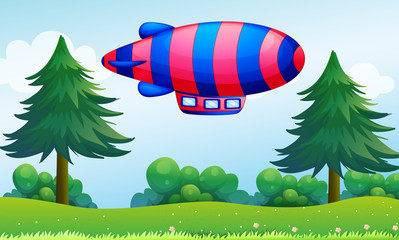 Photo sur Toile Avion, ballon A colorful aircraft above the hills
