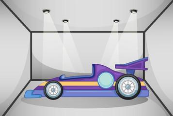 A violet sports car inside the garage