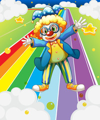 A clown at the colorful road