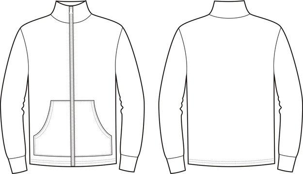 Vector illustration of sport jumper. Front and back views