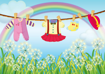 Door stickers Rainbow Kids clothes hanging near the grass