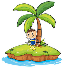 A boy sitting under the coconut tree