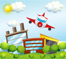 Papiers peints Avion, ballon An airplane in the city