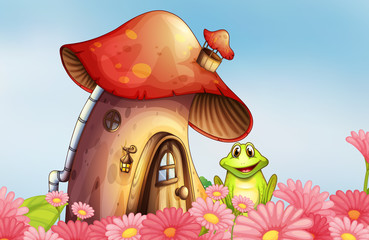A frog near the mushroom house with a garden of flowers