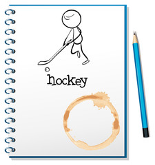 A notebook with a person playing hockey at the cover page