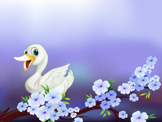 A stationery with a white duck and flowers