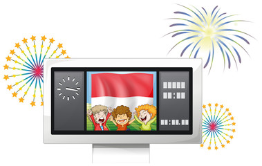 The flag of Indonesia with three kids inside a scoreboard