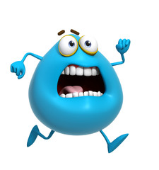 Spoed Fotobehang Sweet Monsters 3d cartoon cute blue monster run