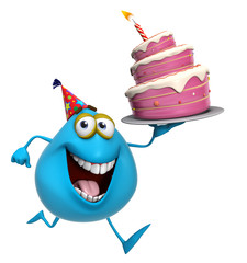 Foto op Canvas Sweet Monsters 3d cartoon cute blue monster with cake