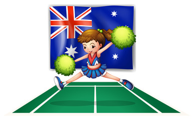 The flag of Australia with a young cheerdancer