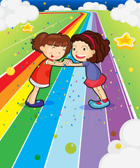 Door stickers Rainbow Two girls holding their hands at the colorful road