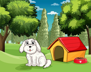 Poster de jardin Chiens A white puppy outside his doghouse