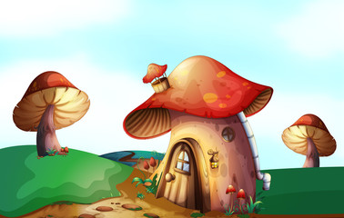 Aluminium Prints Magic world A mushroom house at the top of the hill