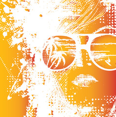 Spoed Fotobehang Vrouw gezicht Women in sunglasses