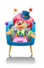 A clown inside the blue television