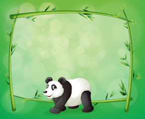 A framed bamboo with a big panda