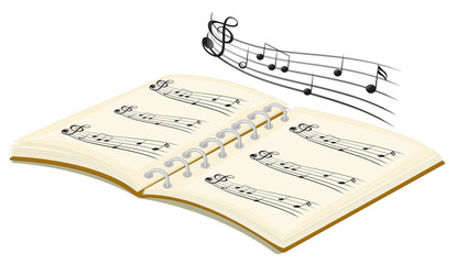 A musical book with musical notes