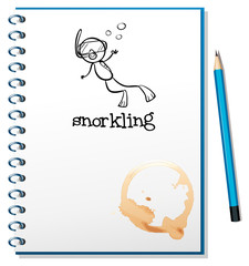 A notebook with a sketch of a person snorkling