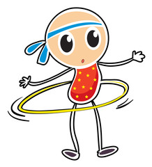 A sketch of a child playing hula hoop