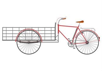 Rower z wózkiem typu bakfiets na białym tle.
