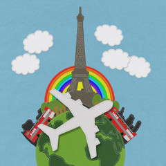 In de dag Doodle Eiffet travel concept with stitch style on fabric background