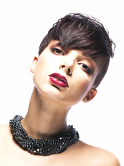 Confident Authentic Brunette with Stylish Short Hairstyle