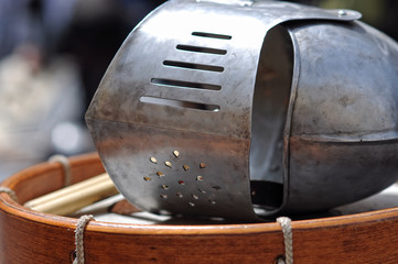 knight's helmet and drum