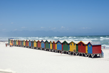 Beach huts Blue Flag beach at Muizenberg in the Western Cape